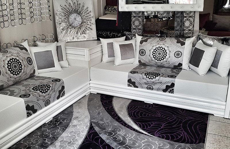 Salon-Marocain-Blanc-et-noir-moderne – MDPM MAROC
